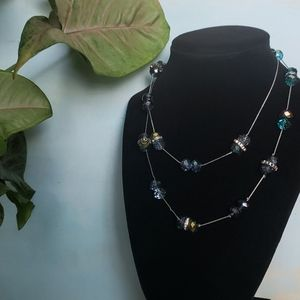 Mosaic Blue Glass Beaded Necklace